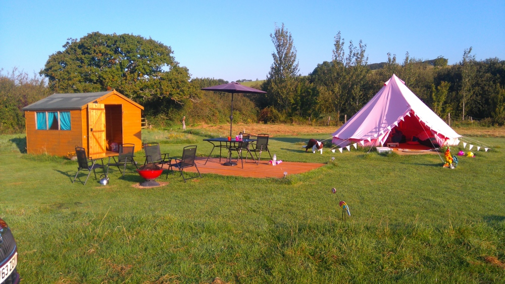 campsite and pink tent